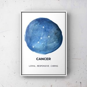 Cancer zodiac sign constellation blue art print